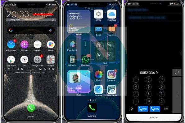 Tampilan IOS 14 dark Mode Vivo