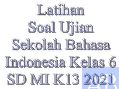Latihan Soal Ujian Sekolah Bahasa Indonesia Kelas 6 SD MI K13 2021