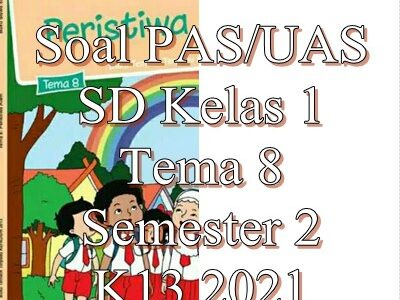 Soal PAS/UAS SD Kelas 1 Tema 8 Semester 2 K13 2021