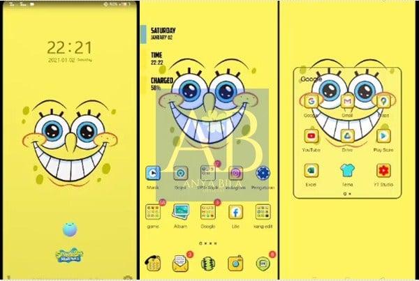 Tampilan Tema Spongebob itz Vivo